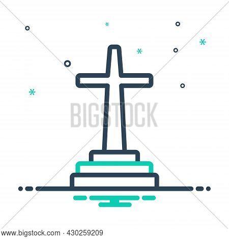Mix Icon For Catholic Jesus Cross Faith Mythology Belief Bible Christ Church Religion Ritual Christi