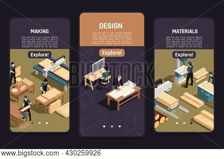 Wooden Furniture Production Info 3 Isometric Smartphone Screens With Designer Drawings Timber Select