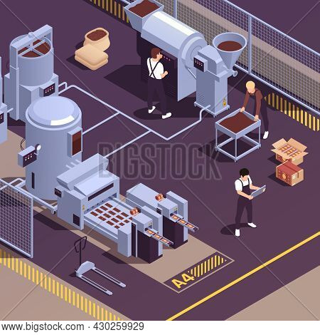 Chocolate Manufacturing Facility Realistic Isometric Element With Operators Controlling Cocoa Beans