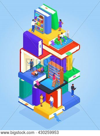 Digital Online Library Isometric Colored Concept Abstract Multi Story Building With Floors Dedicated