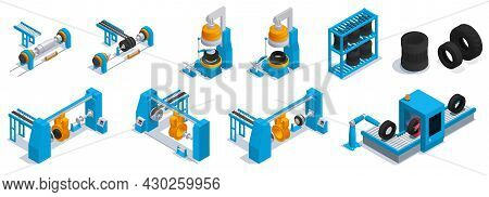 Colored Isometric Tire Production Service Icon Set With Tire Manufacturing Machines In The Factory I