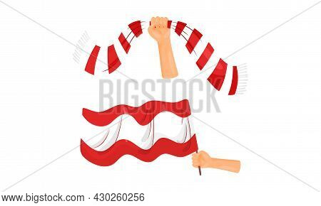 Soccer Football Fan Attributes Set. Hands Holding Red And White Scarf And Flag Cartoon Vector Illust