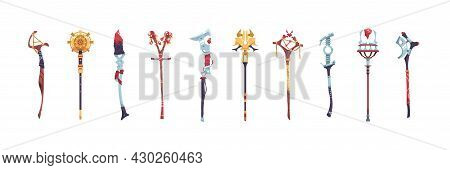 Magic Staves. Wizard Sticks And Wands. Antique Scepter Weapon With Decorative Crystals. Magical Wood