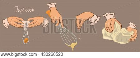 Banner With Cooking. Kneading Dough, Beating, Breaking Eggs, Seasoning. Vector Image.