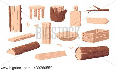 Wood Products. Cartoon Wooden Lumber. Plank And Stump. Carpentry Industry Woodwork Collection Of For
