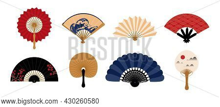 Hand Fan. Japanese Traditional Vintage Clothing Decorative Element. Chinese Folding Painted Paper Co