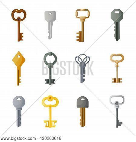 Cartoon Keys. Ancient And Modern Retro Metal Latchkeys. Treasure Lock And Home Security. Secret Sign