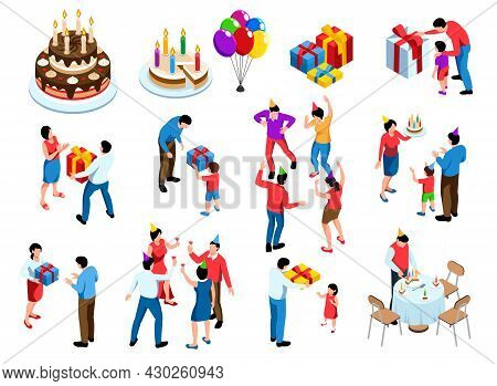 Birthday Party Isolated Icons Set With Cake Presents People Having Fun Giving And Receiving Presents
