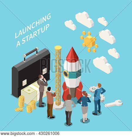 Startup Project Isometric Colored Concept With Launching A Startup Descriptions And Abstract Rocket
