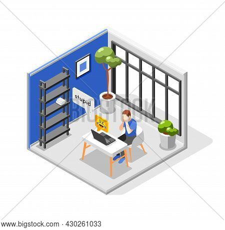 Cyber Bullying Isometric Composition With Crying Man Being Bullied In Internet Sitting In Room With
