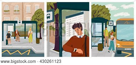 People Waiting In Queue On Bus Stop Vector Illustration Set. Man Looks At Bus Schedule And Checks Ti