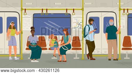 People Inside Subway Train Concept Vector Illustration. Passengers Stand And Sit In Metro Train. Cit