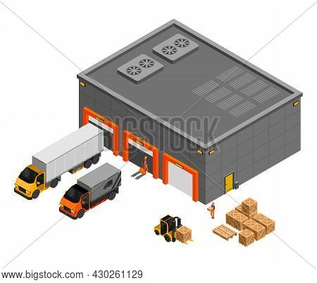 Movers Unload Trucks To The Warehouse Using A Forklift Near A Stack Of Cardboard Boxes Vector Isomet