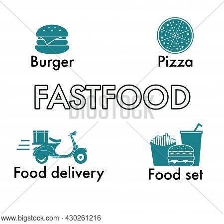 Fastfood Set Icons Collection. Includes Simple Elements Such As Burger,pizza,food Set And Moped Food