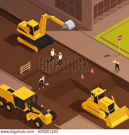 Road Construction Isometric Composition With Characters Of Workers On Street With Operating Road Mac