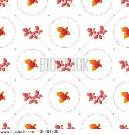 Autumn Leaves Pattern Seamless. Abstract Fall Berries And Red Leaves In Circle Geometric Shapes Endl