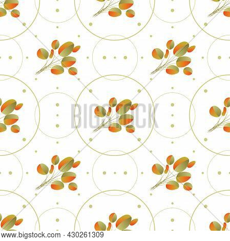 Autumn Leaves Pattern Seamless. Abstract Fall Fallen Leaves In Circle Geometric Shapes Endless Ornat