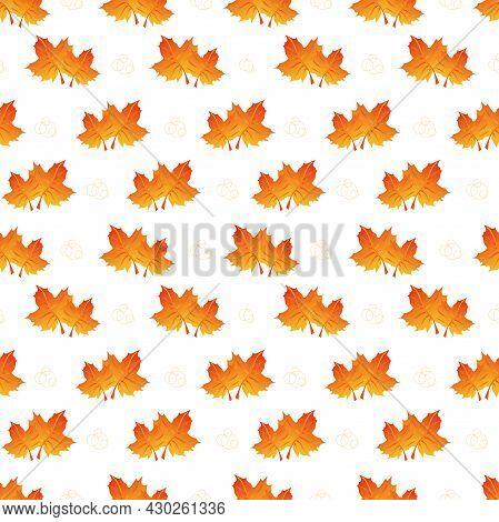 Autumn Leaves Pattern Seamless. Orange Maple Leaves On Repeating Endless Ornate Backdrop. Seasonal F