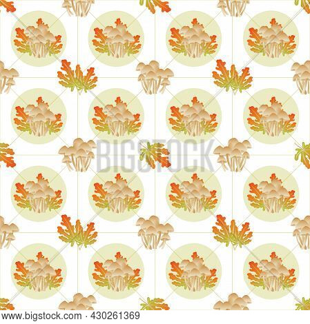 Autumn Leaves Pattern Seamless. Abstract Mushrooms And Autumn Leaves In Circle Shapes At Endless Orn