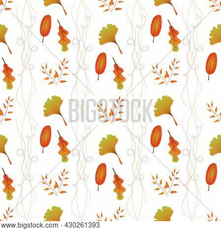 Autumn Leaves Pattern Seamless. Abstract Fall Tree Leaves And Curls Of Herbs At Endless Ornate Backd