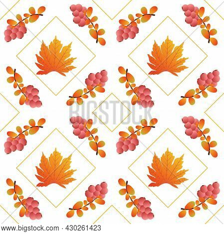 Autumn Leaves Pattern Seamless. Abstract Red Berries And Orange Maple Leaves In Square Shapes At End