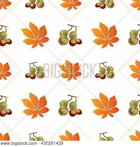Autumn Leaves Pattern Seamless. Chestnut Fruits And Orange Leaves In Geometric Shapes At Endless Orn