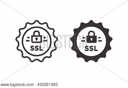 Ssl Security Icon On White Background. Vector Illustration.