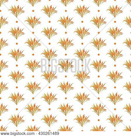 Autumn Leaves Pattern Seamless. Abstract Orange Foliage And Grass On Repeating Endless Ornate Backdr