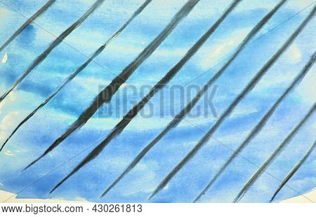 Abstract Watercolor Blue Background With Black Diagonal Lines