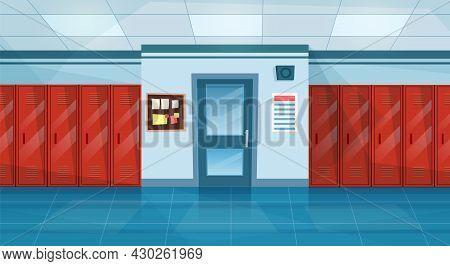 Empty School Corridor Interior With Row Of Lockers, Closed Door To Classroom. Horizontal Banner. Car