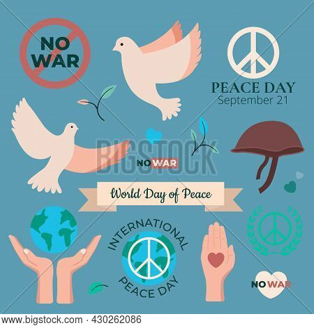 World Peace Day September 21 Set Of Dove, Helmet, Hands Earth Care, Hearts. International Day Of Pea