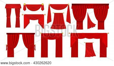 Realistic Red Drapery. Theater Stage And Opera Scene Velvet Fabric Curtains. Movie Cinema Hall Scarl