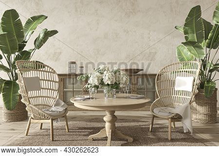 Coastal Design Dining Room With Palm Plants. Mock Up Stucco Wall In Cozy Home Interior Background. H