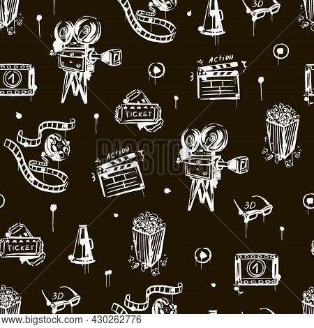 Cinema Seamless Pattern With Vintage Camera, Popcorn, Clapper , 3d Glasses. Black And White. Hand-dr