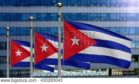 3D, Cuban Flag Waving In The Wind. Close Up Of Cuba Banner Blowing Soft Silk.