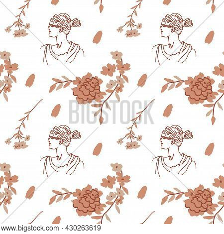 Seamless Vector Pattern With The Gods Of Ancient Greece In Beige,brown.repeating Antique Ornament Ha
