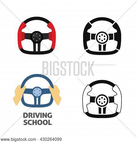 Car Steering Wheel Vector Isolated And With Driver Hand Holding As Extreme Driving School Logotype I