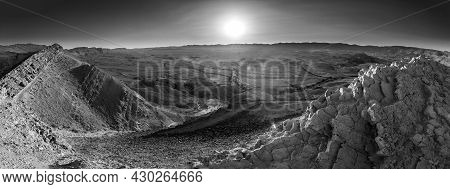 Panoramic View Of Hamakhtesh Hagadol (the Big Crater, Yeruham Crater), In The Negev Desert, Southern
