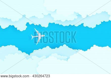 The Plane Flies Between White Clouds In The Blue Sky In Paper Cut Style. 3d Papercut Background With