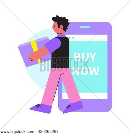 Online Shopping Flat Composition With Male Customer Carrying Shopping Box And Smartphone With Text V