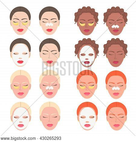 Set Of Faces Of Girls, Blondes, Brunettes, Redheads, With Moisturizing Beauty Masks For The Face. St