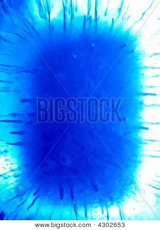 Abstract ice figure blue light white background poster
