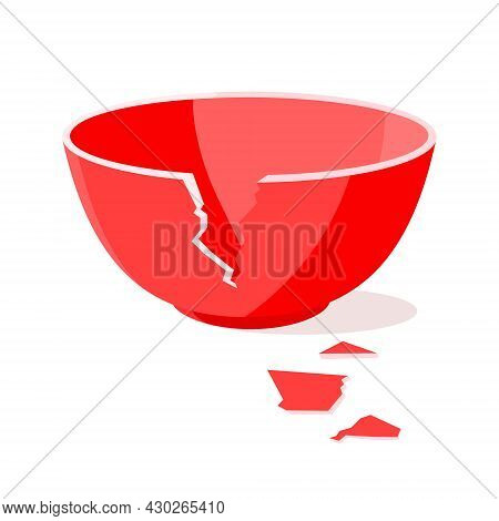 Red Broken Bowl Flat Style Design Vector Illustration Isolated On White Background. Cracked Bowl Pot