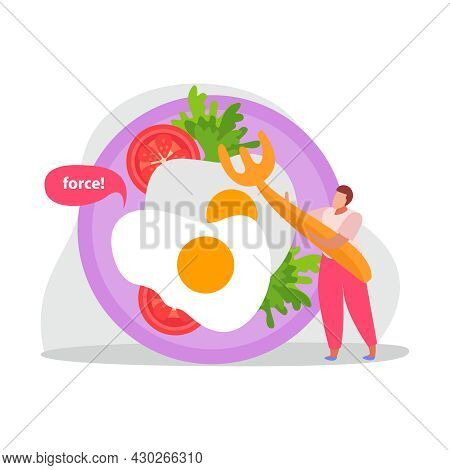 Healthy And Super Food Flat Icons Composition With Fried Eggs And Tomatoes On Plate With Man And For
