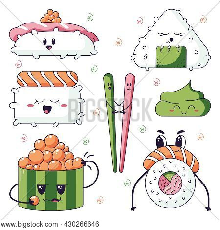Kawaii Sushi Mix Set With Tuna, Salmon, Shrimp And Other Seafood Isolated On A White Background. Vec