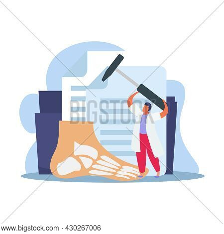 Orthopedics Clinic Flat Composition With Character Of Doctor Holding Hammer With Human Foot And Pape