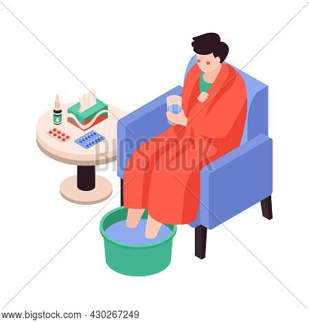 Isometric Cold Flu Virus Sick People Composition With Sick Person In Gown With Drugs On Table Vector