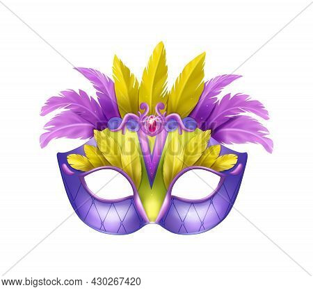 Realistic Carvinal Mask Composition With Isolated Image Of Masquerade Mask With Purple And Yellow Fe