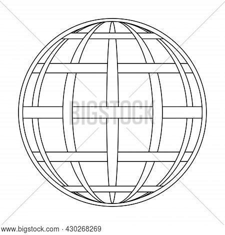Intertwined Meridian And Parallel Of The Globe Of The Earth Grid, The Globe Of The Field Line On The