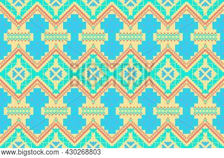 Geometric Fabric Patterns. Abstract Shapes Pattern In Ethnic Style. Vector Style Weaving Concept. De
